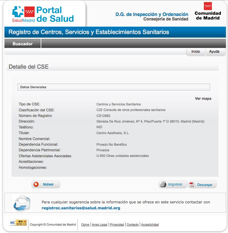 Ficha de Datos de Centro Sanitario Autorizado de Aesthesis San Bernardo