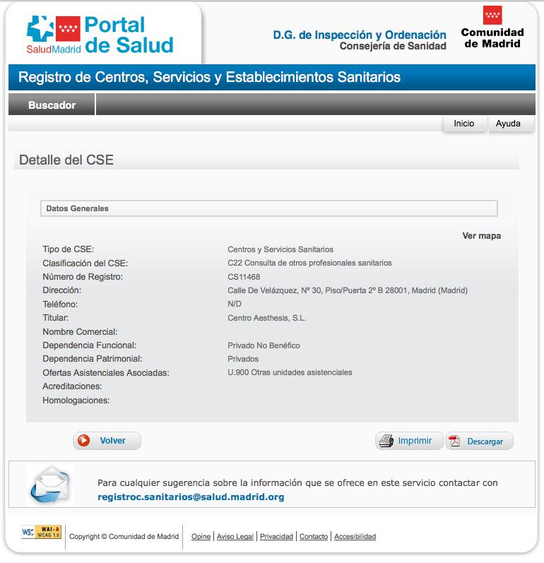 Ficha de Datos de Centro Sanitario Autorizado de Aesthesis Velázquez