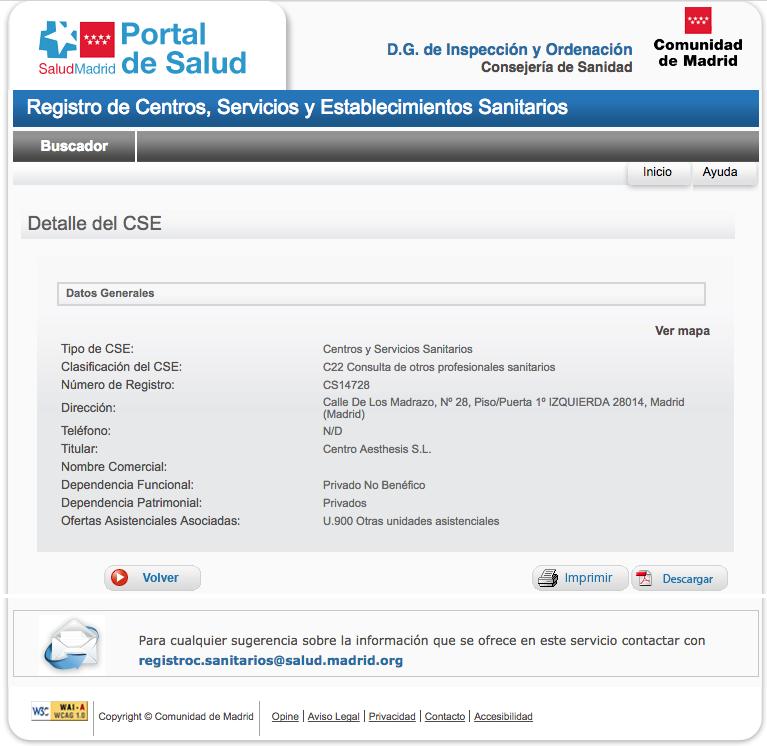 Ficha de Centro Sanitario de Psicología de la Comunidad de Madrid de Aesthesis Cibeles