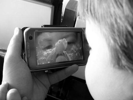 Niño viendo los dibujos en un móvil.