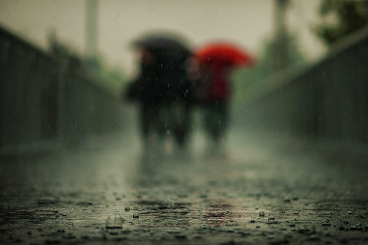 Personas caminando bajo la lluvia.