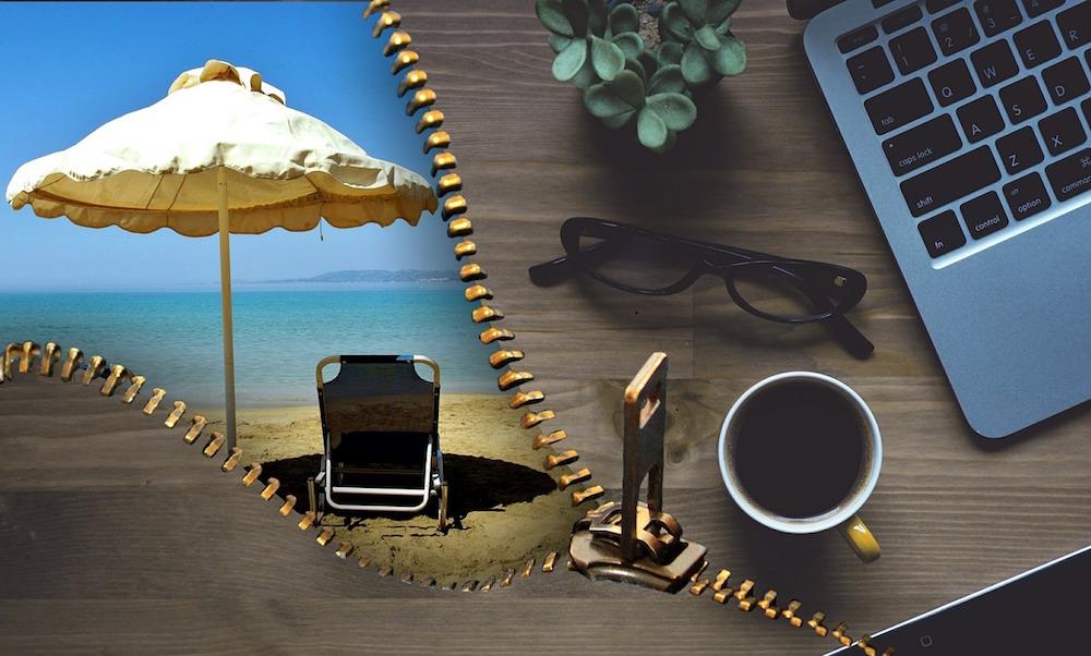 superar sindrome postvacacional psicologos madrid, cremallera divide imagen en playa y oficina